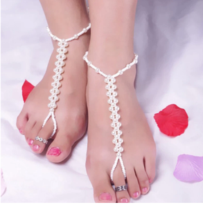 1PC Bohemian Simulated Pearl Beads Chain Anklets for Women Beach Barefoot Sandals Crystal Toe Rings Anklet Foot Jewelry