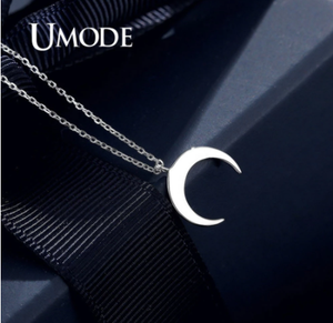UMODE Fashion Moon 925 Sterling Silver Pendants Necklaces Gifts for Women Chains Cute Romantic Silver 925 Jewelry ULN0395