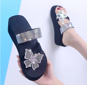 Women Summer Ring Toe Slippers Butterfly Crystal Flower Platform Thick Sole Light Slides Fashion Outdoor Sandals Shoes Ladies