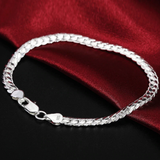 2 Piece 6MM Full Sideways 925 Sterling Silver Necklace Bracelet Fashion Jewelry For Women Men Link Chain Sets Wedding Gift