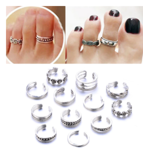 12pcs Bohemian Vintage Adjustable Opening Finger Ring Retro Hollow Carved Toe Rings Kits Boho Beach Foot Rings Jewelry