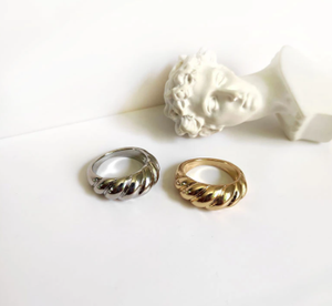 Peri'sBox Gold Silver Color Twisted Croissants Rings Threads Geometric Rings for Women Minimalist Chunky Rings Vintage Jewelry