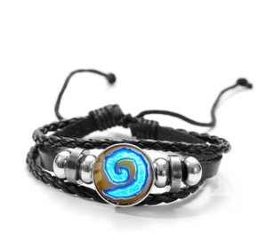 World of Warcraft Bracelet WOW Alliance Horde Banner Flag Sign Glass Button Punk Wristband Souvenirs Gift for Game Fans