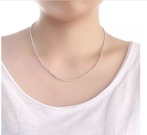 DOTEFFIL 925 Sterling Silver 18 Inch Snake chain beads Necklace For Women Man Fashion Wedding Engagement Party Charm Jewelry