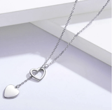 Sodrov 925 Sterling Silver Necklace Pendant For Women Double Heart High Quality Fine Silver 925 Jewelry