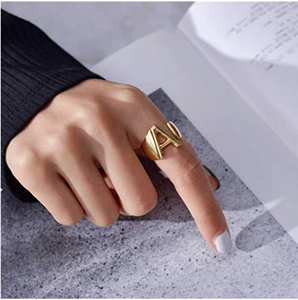 GoldChic Jewelry Personalized Gold Bold Initial Letter Open Ring Adjustable Women Statement Rings Party|Women's Signet Ring|18K Gold Plated Open Alphabet Rings|Letter A to Z