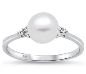 Oxford Diamond Co Sterling Silver Fresh Water Pearl & Cubic Zirconia Ring Sizes 4-10 Colors Available!