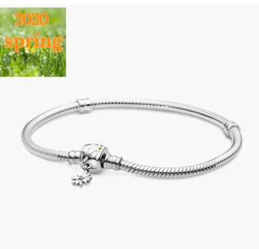 2020 Spring NEW Fit Original Pan Charms 925 Sterling Silver Bracelet Daisy Flower Clasp Snake Chain Bracelet Women Gift