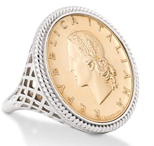 Miabella 925 Sterling Silver Genuine Italian 20-Lira Coin Rope Ring for Women
