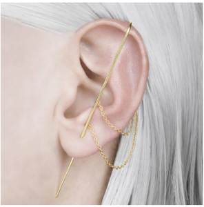 Ear Wrap Crawler Hook Vintage Women Earrings Punk Wrap-around Track Hook Earrings Stud Auricle Type Ear Clip Wire Earrings