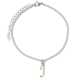 "It's All About...You! 7.5"" - 9.5"" Stainless Steel Ankle Bracelet with Alloy Initial 26 Letter Options A-Z Curb Chain."