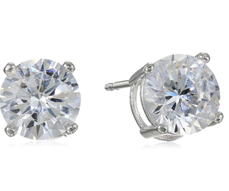 Amazon Essentials Plated Sterling Silver Cubic Zirconia Stud Earrings (Round & Princess)