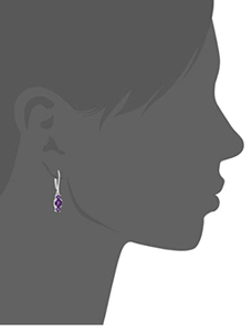 Amazon Collection Sterling Silver Genuine and Created Gemstone Three Stone Birthstone Leverback Dangle Earrings
