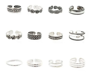 12pcs Rings Lady Unique Adjustable Opening Finger Ring Retro Carved Toe Ring Foot Beach Foot Jewelry