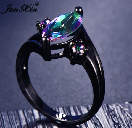 12 Color Unique Mystery Female Girls Rainbow Ring Fashion 14KT Black Gold Jewelry Bohemian Vintage Wedding Rings For Women