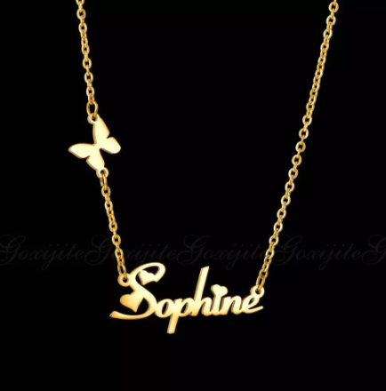 Goxijite Fashion Custom Stainless Steel Name Necklace With Butterfly For Women Personalized Letter Gold Choker Necklace Gift