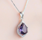 Bague Ringen Elegant Water Drop Shaped Pendant Amethyst Necklace for Women Temperament Gemstone Silver 925 Jewelry Weddings Gift