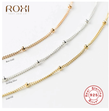 ROXI 2020 Simple Bohemia Bead Chain Necklace Women Female 925 Sterling Silver Necklace Ladies Short Choker Necklace Collier Gift