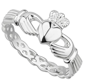 Claddagh Ring Sterling Silver Made in Ireland Twist On the Traditional Claddagh With a Braided Band Made By the Artisans At Solvar in Co. Dublin