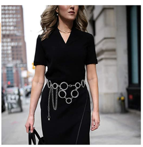 Glamorstar O-Ring Chain Belts for Women Waist Band Belt for Dress Link Chain Gift