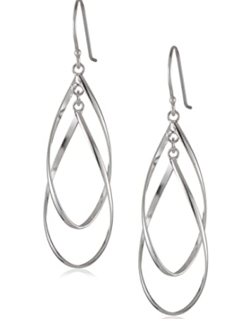 Sterling Silver Double Elongated-Oval Twist French Wire Earrings