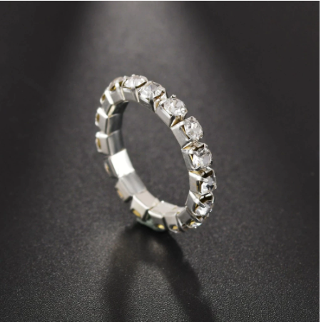 1/2/3/4/5 Row Crystal Elastic Finger Toe Ring Bride Jewelry Metal Stainless Steel Men Rings For Women Wedding Engagement
