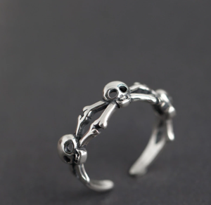 100% Real 925 Silver Adjustable Punk Style Magic Steampunk Skull Finger Toe Ring Women Wedding Bridal Aneis Man Knuckle 2020 NEW