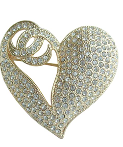 "1.97"" Rhinestone Crystal Love Heart Brooch Pin Pendant BZ4831"