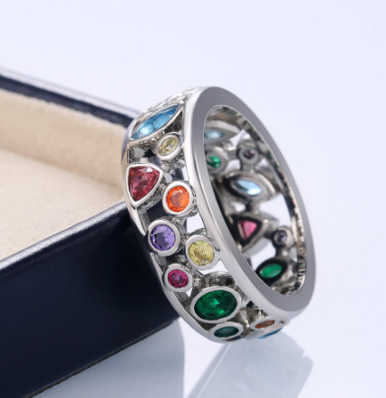 Huitan Colorful Women Hollow Out Geometric Stone Rings Cocktail Party Female Finger Ring Fancy Stylish Rings Jewelry Wholesale