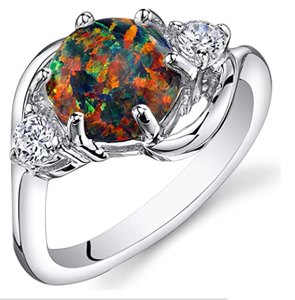 Peora Created Black Opal Ring in Sterling Silver, Round Shape, 8mm, 1.75 Carats, Sizes 5 to 9