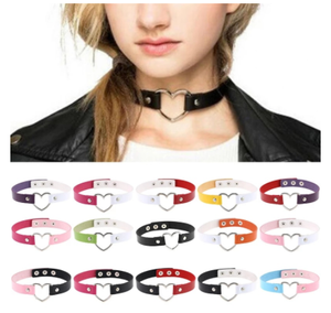 New Fashion Women Men Cool Punk Goth Rivet Heart-Shape Leather Collar Choker Necklace Jewelry Accessories