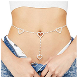 Cusmyre Rhinestone Body Chains Belt Crystal Waist Chains Heart Pendant Summer Beach Waist Body Jewelry Festival Belt Belly Jewelry for Women and Girls