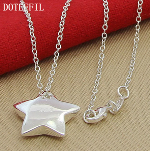 DOTEFFIL Genuine 925 Sterling Silver Star Pendant Necklace 18 inches Chain Fashion Jewelry Necklace For Women Hot Sale