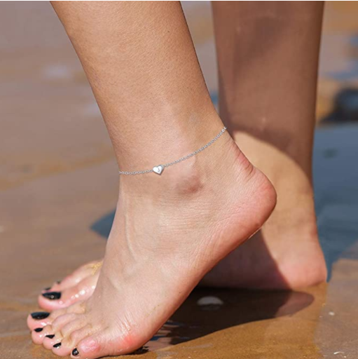 ChicSilver 925 Sterling Silver Initial Anklets for Women Teen Girls Dainty Beach Heart Ankle Bracelet Foot Jewelry-Adjustable Size(with Gift Box)