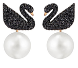 SWAROVSKI Women's Black Iconic Swan Necklace & Earrings Rose Gold Tone Finish Crystal Jewelry Collection