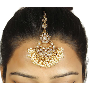 MUCH-MORE antique gold plated Punjabi style fully stone work mang tikka for women & girls