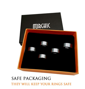 Morchic Hematite Stone Rings for Women Men Unisex, Anxiety Balance Root Chakra (Pack of Mixed Size)