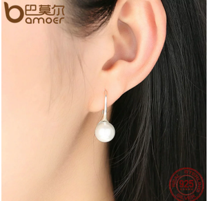 [add to cart win phone] BAMOER 925 Sterling Silver Elegant Round Pure Love Pearl Drop Earrings Women Jewelry White Pink SCE037