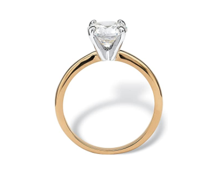 Palm Beach Jewelry 18K Yellow Gold Plated Round Cubic Zirconia Solitaire Engagement Ring