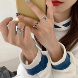 AOMU Vintage Bohemia Colorful Enamel Love Heart Ring Cute Simple Metal Gold Silver Color Rings for Women Punk Rock Jewelry