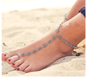 Summer Beach Vintage Antique Silver Color Toe Ring Anklets Bohemia Fashion Geometric Flower On Leg Anklet For Women Foot Jewelry