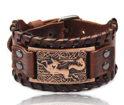 Charm Wide Leather Bracelet Men Punk Braided Rope Alloy Cuff Bangle Male Wristband Viking Bracelet Mens Jewelry