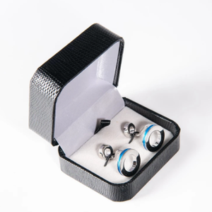 Luxury French Shirt Cufflinks Blue Black Double Ring Cuff Button Mens Jewelry For Business Wedding Gift