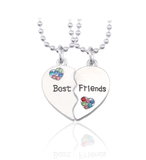 Fashion Trendy Broken Heart Pendant Necklace Best Friends Forever Splicing Friendship Necklace Puzzle Choker Women Girls Gift