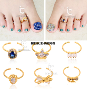 ICYCHEER 1pcs Fashion Toe Ring Diamond Gold Adjustable Size Opening Women Lady Foot Ring