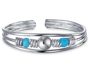 Boho Fashion Blue Bead Stabilized Turquoise Midi Toe Ring For Women For Teen 925 Sterling Silver Adjustable