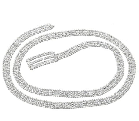 "Topwholesalejewel Wedding Jewelry Silver 44"" Rhinestone Double Line with Silver Beads Belt"