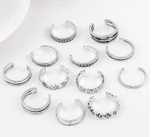 12 Pcs/Sets Daisy Ethnic Carved Adjustable Open Toe Ring Mujer Vintage Antique Silver Color Beach Elephant Moon Arrow Ring Set