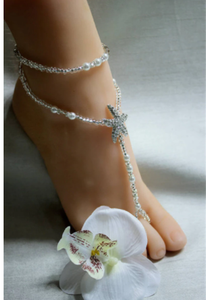 Fashion Imitation Pearl Elastic Toe Ring Bridal Anklets Foot Jewelry Bohemia Crystal Starfish Barefoot Sandals Anklets For Women