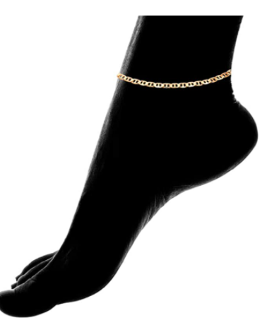 Womens Gold Anklet Flat Mariner | Barzel 18K Gold Plated Flat Marina Link Anklet for Women - Made In Brazil
